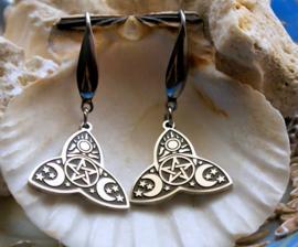 Paar RVS Wicca Celtic Oorbellen: TRIQUETRA met Maan en Pentagram - Zilver met Zwart