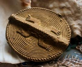 AFRIKA: 1 Grote, Handgemaakte Ashanti Hagedis Kraal - Koper - ca 40 mm