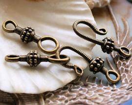 1 Kapittel Slot - Bali Stijl met Dots decoratie - 2-delig - Antiek Koper/Brons Kleur