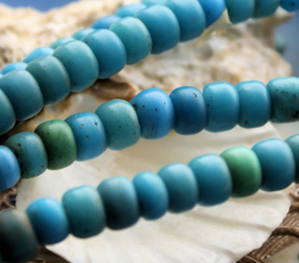 set/10 ANTIEKE FUR TRADE BEADS Handelskralen: Grote Padres 1800's - ca 9 mm - Aqua/Turquoise