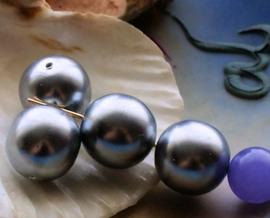 set/4 Grote Kralen: Parel Glas - Rond - 14 mm -  Donker Zilver-Grijs