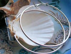 Paar Oorbellen/Creolen: Grote Ringen - 60 mm - Antiek Zilver kleur