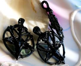 Baphomet Inverted Pentagram Hanger - Black Zwart - 34 mm