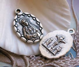 1 Dubbelzijdige Hanger: Maria - Maria Magdalena - Jezus - 27 mm - Antiek Zilver Kleur