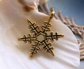 1 Bedel: Sneeuw Kristal - 24x18 mm - Antiek Goud Kleur Metaal