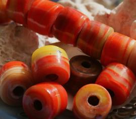 1 Grote TRADE BEAD Handelskraal: Afrika India - Tube - ca 18-19x14-15 mm - Oranje Bruin Geel