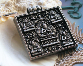 Mooie Hanger: Boeddha - 41x36 mm - Antiek Tin kleur