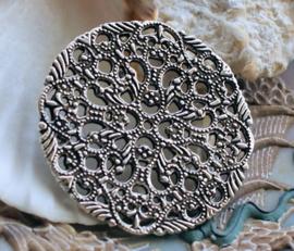 Prachtig Groot Ornament - 42 mm - Antiek Zilver Kleur Metaal