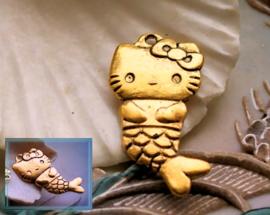 1 Hanger: Kitty Kat Poes Zeemeermin - 33 mm - Antiek Rood-Goud Kleur Metaal