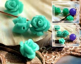 set/5 Kralen: Acryl - Roos - 10 mm - Turquoise Kleur of Jade Groen