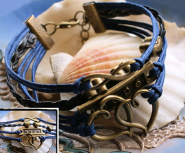 Armband 'Blauw Brons' 4-rij in Imitatie Suède/Leer - Infinity Hartjes