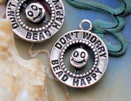 1 Bedel: Don't Worry Bead HAPPY - 20x16 mm - Antiek Zilver Kleur Metaal
