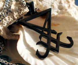 Gun-Metal Lucifer Sigil/Satan Seal Hanger (46 mm) aan Ketting