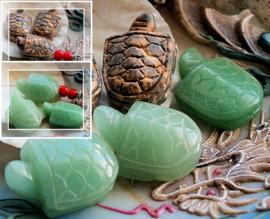 1 Kraal: Schildpad van echt Groen Aventurijn of Luipaard Jaspis - 25 mm