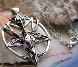 Baphomet Inverted Pentagram Hanger (48 mm) aan Ketting