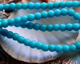 set/15 ANTIEKE TRADE BEADS Handelskralen: Afrika Boheems - Prosser - ca 5 mm - Turquoise/Aqua