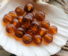 set/20 kralen: Glas - Rond - ca 6-7 mm - Transparant Amber