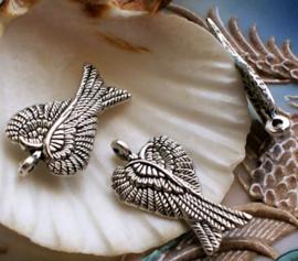 1 Bedel: Engel of Elfen Vleugels - 29 mm - Antiek Zilver Kleur