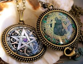 Hanger aan Ketting: Wicca Pentagram - 41 mm - Brons Kleur Metaal