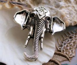 1 Hanger: Indiase Olifant - 44x33 mm - Antiek Zilver Kleur