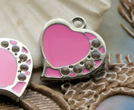 1 Emaille Bedel: Hart - 22 mm - Roze + Strass