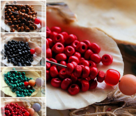 set/50 Kralen: Hout - Spacer - 4x3 mm - Bruin Rood Turquoise Zwart