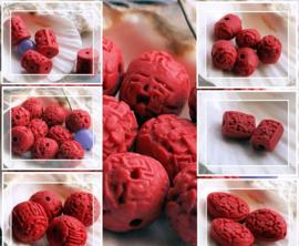Prachtige CINNABER kralen in diverse maten verkrijgbaar - Rood