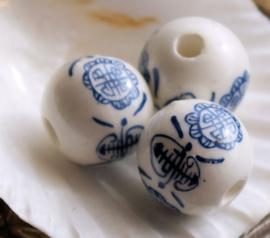 set/2 Grote Kralen: Chinees Porselein - Longevity Symbool - 16 mm - Blauw Wit