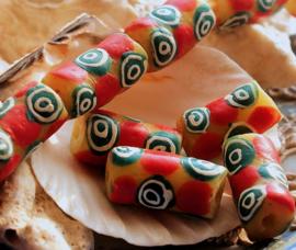 set/2 Grote Krobo TRADE BEADS - Kralen uit Ghana - Glas - ca 20-22 mm - Geel Rood Groen Wit