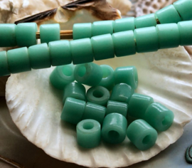 set/13 ANTIEKE TRADE BEADS Handelskralen: Afrika Boheems - ca 7 mm - Licht Turquoise