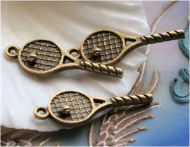 1 Bedel: Tennis Racket + Bal - 29 mm - Antiek Koper/Brons Kleur Metaal