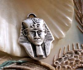 Hanger/Bedel: Egypte Farao - Pharao - 28 mm - Antiek Zilver Kleur Metaal