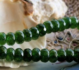 set/5 kralen: Echt Jade - Facet Disc - 8x5 mm - Donker Dennen-Groen