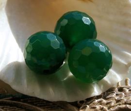 1 grote kraal:  echt Agaat - Rond Facet - 14 mm - Jade-Groen