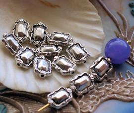 set/7 Kralen: Juweel Vorm - 11x8 mm - Antiek Zilver Kleur Metaal