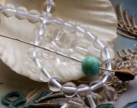 set/10 kralen: echt Bergkristal - Rond - 6 mm - Kristal Helder