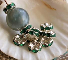 set/10 Kralen/Kapjes: met Kristalletjes - 8 mm - Zilver Kleur Metaal met Smaragd Groen