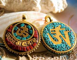 1 Hanger uit Nepal: Ohm Symbool - 36 mm - Turquoise/Koraal en Koper