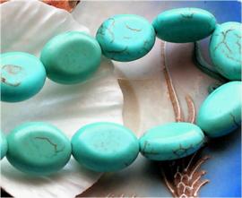 set/3 kralen: Echt Magnesiet - Ovaal - 18x14 mm - Turquoise kleur