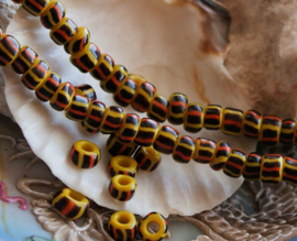 set/20 ANTIEKE TRADE BEADS Handelskralen: Afrika Boheems - ca 6 mm - Geel Zwart Oranje