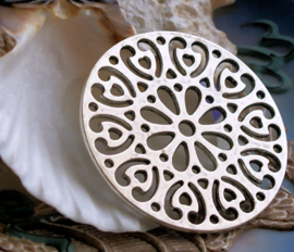 Round Pendant/Connector: Flower/Heart - 47 mm - Antique Silver tone