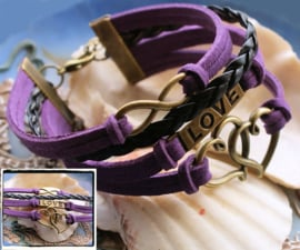 Armband 'Purple Endless Love' 4-rij in Imitatie Suède/Leer