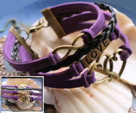 Bracelet 'Purple Endless Love' in Faux Leather/Suede
