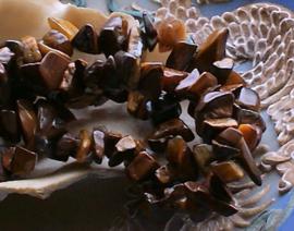 set/40 kralen: echt Afrikaans Tijgeroog -  Chips - ca 5-10 mm