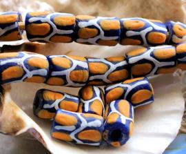 set/3 Krobo TRADE BEADS - Handelskralen uit Ghana - Glas - ca 12-15x9 mm - Kobalt Blauw Wit Maïs-Geel