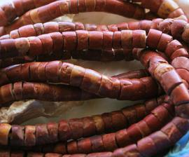 AFRIKA: 20 cm/ca 50 oude BAUXIET Heishi Kralen - 6,5-7 mm