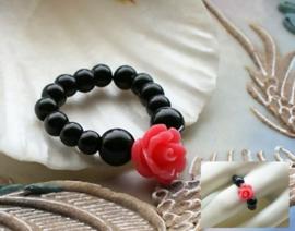 Flex Ring met ROOSJE - maat: 17-19 mm - Zwart met Roze