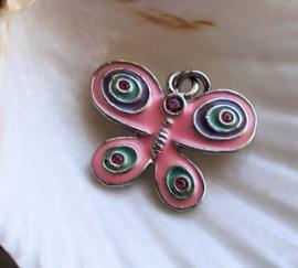 1 Emaille Bedel: Vlinder met Strass - Roze Paars Aqua