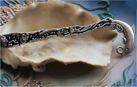 Boekenlegger: Dolfijn & Vissen - 12 cm - Antiek Zilver kleur