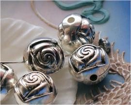 set/5 Grote Kralen: Roos - Rond - 16 mm - Antiek Zilver Kleur Metal Look